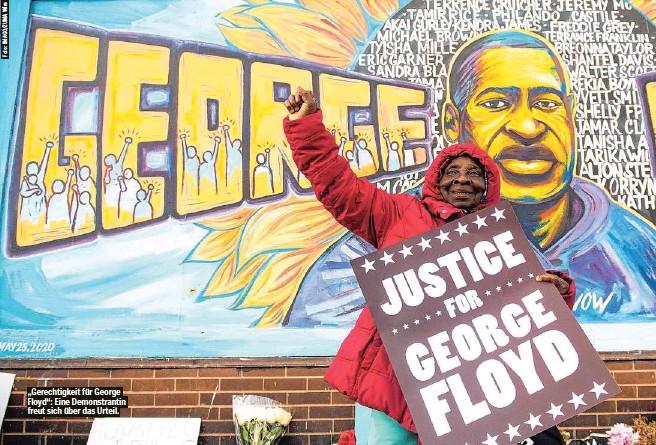 """??  ?? """"Gerechtigkeit für George Floyd"""": Eine Demonstrantin freut sich über das Urteil."""
