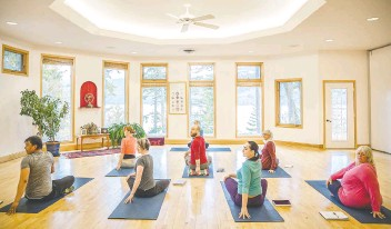 """?? TEGRA STONE NUESS ?? A hatha yoga class at the Yasodhara Ashram, which puts a """"focus on reflection."""""""