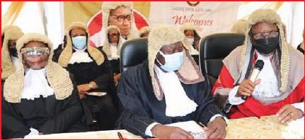 ??  ?? • Justice Taofikat Oyekan-abdullai, CJ Alogba and Justice Candide-johnson