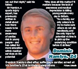 ?? Picture: LinkedIn ?? Dominic Hamlyn, 24 Dominic Hamlyn died after suffering a cardiac arrest at his brother's 21st birthday celebrations