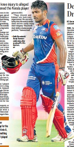 ?? AFP ?? Delhi Daredevils' Sanju Samson celebrates after scoring IPL 10's first ton.