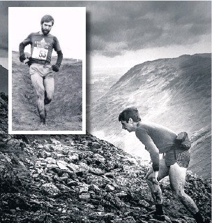 ??  ?? ●● Graham pictured at the Wasdale fell race in the Lake District and (inset) taking part in another fell race, both in the early 1980s