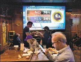 ?? Richard Vogel Associated Press ?? PRO-RECALL voters gather to watch early results of the California election during a party at the Pineapple Hill Saloon & Grill in Los Angeles.