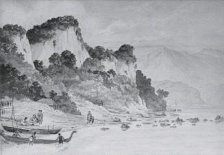 ??  ?? Māori settlement, Mikonui, Kaikōura (1854 painting).