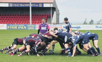 ??  ?? Scarborough RUFC Vikings contest a scrum with Marist in their 69-0 win Pictures: Jake Standing
