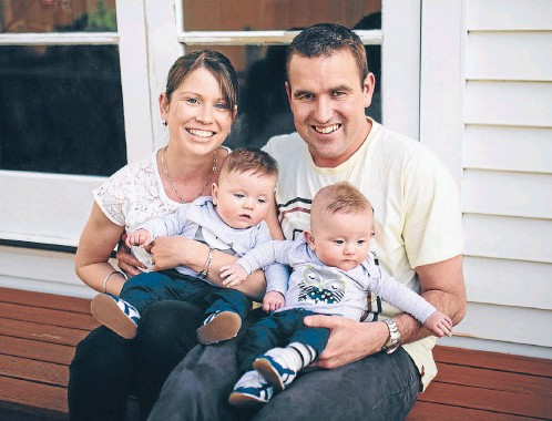?? Photos: BILLIE BROOK ?? Happy together: Wellington couple Nadine and Brett Wooffindin with their twin boys, Jack, left, and Max.