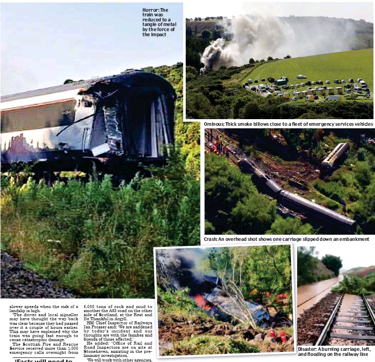 ??  ?? Horror: The train was reduced to a tangle of metal by the force of the impact Ominous: Thick smoke billows close to a fleet of emergency services vehicles Disaster: A burning carriage, left, and flooding on the railway line
