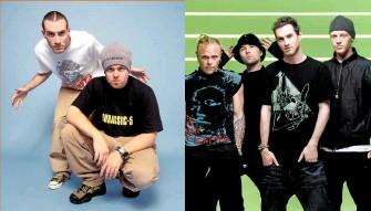 ??  ?? Labelled with love: (above left) Lavelle with Mo' Wax signing DJ Shadow (right), 1998; (above right, from left) Keith Flint, Ian Brown, Lavelle and Richard File, 2003.
