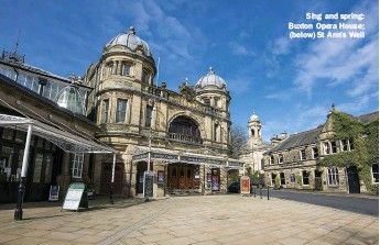 ??  ?? Sing and spring: Buxton Opera House; (below) St Ann's Well