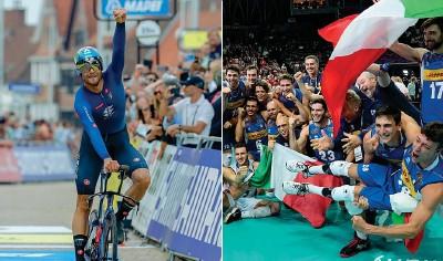??  ?? Filippo Ganna, 25 anni, è campione mondiale a cronometro per la seconda volta. Impresa degli azzurri nel volley: oro agli europei