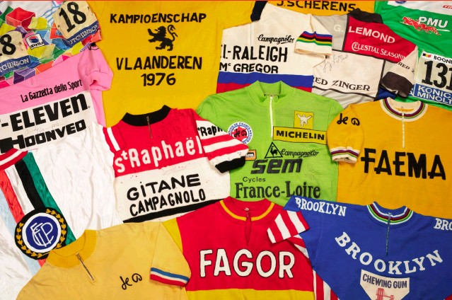 ??  ?? ABOVE: A SELECTION FROM THE HORTONS' EXPANSIVE JERSEY COLLECTION. OPPOSITE: PHOTOS OF BERNARD HINAULT FROM THE 1970S.