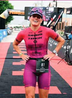 ??  ?? RIGHT Moench is third at the 2021 Ironman North America Championship Tulsa