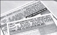 ??  ?? For sale: Fliers for land auctions in western Kansas and eastern Colorado are seen at Farm Credit of Western Kansas in Colby, Kan.