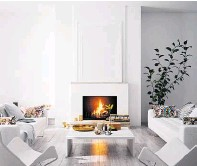 ??  ?? Above: A luxurious apartment interior living room with fireplace. Left: Scandinavian style of a modern home interior with fireplace. Photos / Supplied