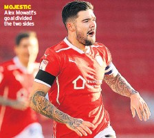 ??  ?? MOJESTIC Alex Mowatt's goal di­vided the two sides