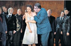 ??  ?? In rep until Sept 29, then Feb 18 to March 12 2022. Tickets: 020 7304 4000; roh.org.uk A vocal triumph: Lisette Oropesa as Gilda opposite Carlos Álvarez as Rigoletto