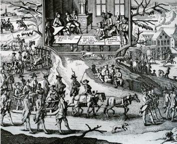 ??  ?? Auf einem großen Schlitten wurden Matthäus Klostermayr und seine Kumpane nach Dillingen gefahren. Dort wurde ihnen der Pro‰ zess gemacht. Der Kupferstich stammt von Johann Martin Will.