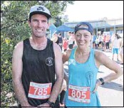 ??  ?? HAPPY WINNERS: Albury runners Reece Evans and Belle Ralph were all smiles after their wins at Beechworth Secondary College's fun run fundraiser event on Easter Saturday.