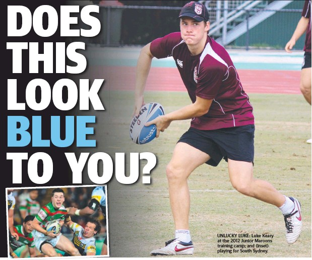 ??  ?? UNLUCKY LUKE: Luke Keary at the 2012 Junior Maroons training camp; and (inset) playing for South Sydney.