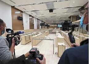 ?? T. Coex / AFP ?? Le procès se tiendra à partir de mercredi dans cette salle construite pour l'occasion, à Paris.