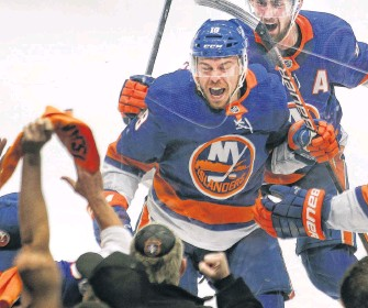 ?? USA TODAY ?? New York Islanders left winger Anthony Beauvillier reacts after scoring the game-winning goal in overtime against the Tampa Bay Lightning in Game 6 of the 2021 Stanley Cup semifinal at Nassau Veterans Memorial Coliseum in Uniondale, N.Y., Wednesday night.
