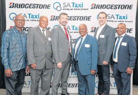 ??  ?? At the launch of the new Bridgestone Taxi R15 tyre, from left: BB Zondi, Santaco; R Lentsoane, Santaco; Terry Kier, SA Taxi; P Taaibosch, Santaco; J Fourie, Bridgestone and J Peters, Santaco. Below: Bridgestone tyre 613V 195/R15C designed for taxi usage.