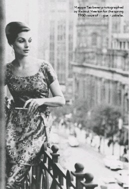 ??  ?? Maggie Tabberer photographed by HelmutH Newton for the spring 1960 issue of Vogue Australia.