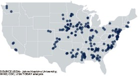 ?? SOURCE USDA- Johns Hopkins University; WHO; CDC; USA TODAY analysis CARLIE PROCELL/USA TODAY ?? Meatpacking and COVID-19 The map shows large meatpacking plants in U.S. counties with a COVID-19 infection rate equal to or greater than 269 per 100,000 residents — a higher rate than 75% of U.S. counties: