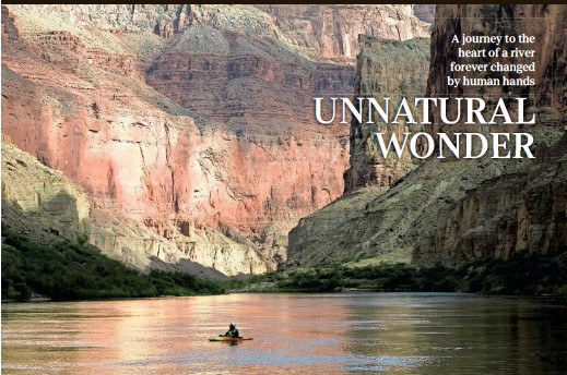 ?? DAVID WALLACE/THE REPUBLIC ?? Ezra Jones takes in the Canyon walls from his kayak on the Colorado River in May in Grand Canyon National Park.