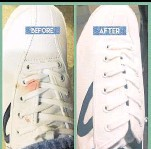 ??  ?? A bloodstained canvas pair before and after professional cleaning