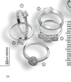 ??  ?? 1. Anillo de compromiso en oro blanco 18K con diamante talla brillante y diamantes de adorno talla redonda. 2. Anillo de compromiso en oro blanco 18K con diamante talla ovalada. 3. Anillo en oro blanco 18K con diamantes talla brillante y diamantes de adorno talla redonda. 4. Anillo de compromiso en oro blanco 18K con diamante talla brillante y diamantes de adorno talla redonda. 5. Anillo de compromiso en platino con diamante talla brillante.
