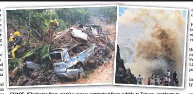 ??  ?? CHAOS:CH (Clockwise from main) a man is extricated from rubble in Taiwan; residents i in China watch huge waves; a car engulfed by a mudslide in Taiwan. Pictures: AFP/AP