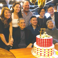 ?? CATHERINE IKEDA-BLAZYS / HANDOUT / THE CANADIAN PRESS ?? Catherine Ikeda-blazys, left, is part of the so-called sandwich generation, a cohort of middle-aged adults caring for both children and aging parents. This photo, from April 2019, was taken on her father's 88th birthday.