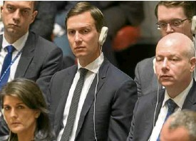 ?? —AP ?? Jared Kushner (center) takes part in a UNSecurity Council meeting on Feb. 20.