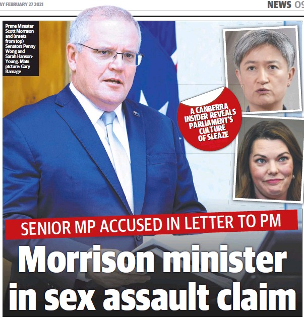 ??  ?? Prime Minister Scott Morrison and (insets from top) Senators Penny Wong and Sarah HansonYoung. Main picture: Gary Ramage