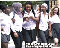 ??  ?? TOO COOL FOR SCHOOL Bukky (main picture) and, inset, with some of her Rocks co-stars