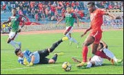 ?? AIFF ?? Aizawl (Red) took the lead in 73rd minute.