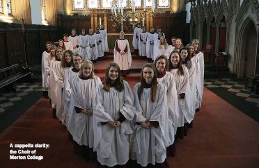 ??  ?? A cappella clarity: the Choir of Merton College