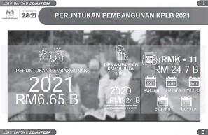 ??  ?? UNTUK RAKYAT: KPLB menerima peruntukan pembangunan tahun 2021 sebanyak RM6.65b berbanding tahun 2020 sebanyak RM6.24b.