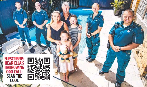 ??  ?? Paramedics Joshua Kemp, Stuart Goldston, Ebony Hewett and Shawn Scott who helped save the life of father of two Brendan McAuliffe. Brendan with his wife Olivia and their children Ashlee, 9 and Ella, 12. Picture: Nigel Hallett