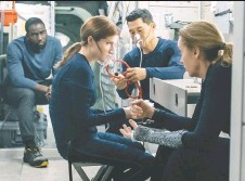 ?? ELEVATION PICTURES ?? Shamier Anderson, Anna Kendrick, Daniel Dae Kim and Toni Collette come together in Stowaway, a film that misses the mark.