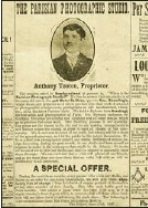 ??  ?? The front page of The Evening Telegram of July 8, 1907 shows Anthony Tooton's first advertisement for his photography store.