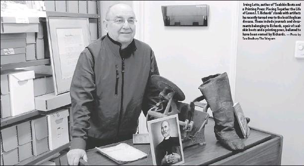 """?? Tara Bradbury/the Telegram — Photo by ?? Irving Letto, author of """"Sealskin Boots and a Printing Press: Piecing Together the Life of Canon J. T. Richards"""" stands with artifacts he recently turned over to the local Anglican diocese. These include journals and documents belonging to Richards, a..."""