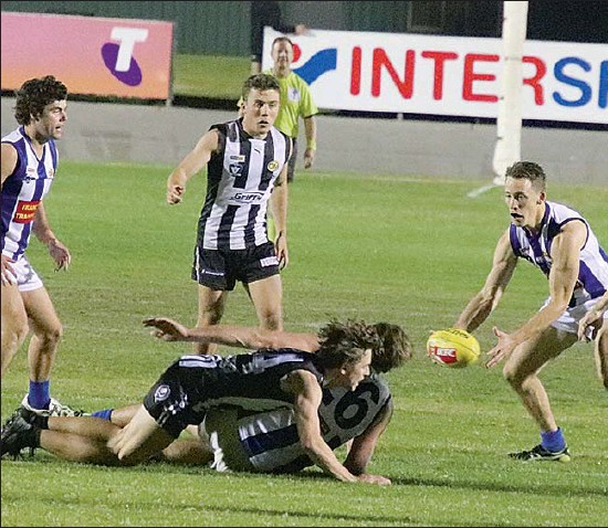 ??  ?? The battle-hardened Wangaratta Magpies were too strong for the Roo's in Saturday night's match at Norm Minns Oval.