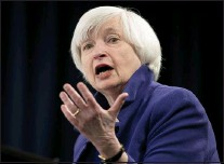 ?? CAROLYN KASTER — THE ASSOCIATED PRESS FILE ?? In this Dec. 13, 2017file photo, Federal Reserve Chair Janet Yellen speaks during a news conference following the Federal Open Market Committee meeting in Washington. Yellen on Monday, April 5, 2021, urged the adoption of a minimum global corporate income tax, an effort to offset any disadvantages that might arise from the Biden administration's proposed increase in the U.S. corporate tax rate.