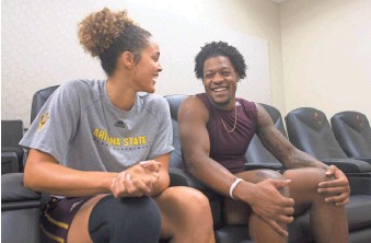 ?? PATRICK BREEN/THE REPUBLIC ?? Arizona State's Kianna Ibis and N'Keal Harry talk about their relationship on Oct. 13. Ibis is a star forward for ASU women's basketball, and Harry is a star receiver for the Sun Devils.