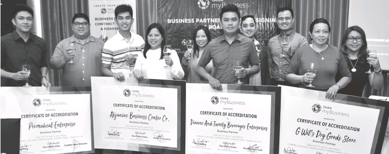 ??  ?? PHOTO shows (from left) Glen Garate ( Permaheal ) ; Christopher Llañas ( Globe myBusiness Cluster Sales Head) ; Avelyn Fuenticelia (Abjanine Business Center Company); Mercy Andrews ( Globe myBusiness Regional Sales Head), Ermanie Sulit (Dianne and Tweety Beverages Enterprises ), Ryan Galan ( Globe myBusiness Regional Sales Head), Ric Aquino ( Globe myBusiness Regional Sales Head), Wilcy Gabac ( Gwils Dry Goods Store), and Cleo Celeste Santos ( Globe myBusiness Sales Head)