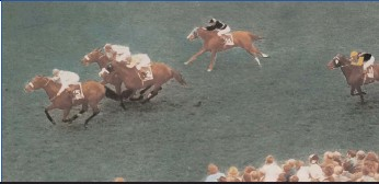 ?? Picture: Gold Circle ?? The Fred Rickaby-Trained Naval Escort with Snowy Reid up beats Home Guard and Coast Guard in the 1969 Durban July.