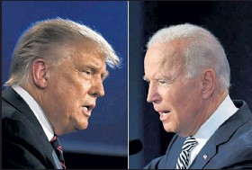 ?? Jim Watson/ AFP ?? This combination of pictures created shows President Donald Trump, left, and Democratic Presidential candidate former Vice President Joe Biden squaring off Sept. 29 during the first presidential debate at the Case Western Reserve University and Cleveland Clinic in Cleveland, Ohio.