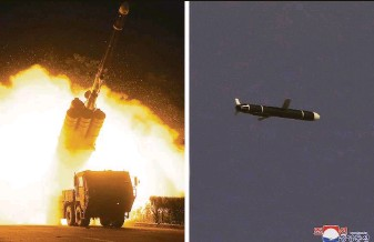 ?? Korean Central News Agency ?? The North Korean government provided photos showing the launch of long-range cruise missiles from an undisclosed location. It's the North's first known missile test in months.
